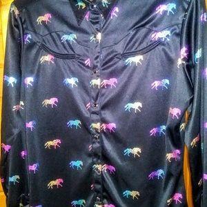 Wrangler Western Shirt Black w/ Holographic Horses